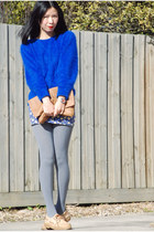 blue vintage jumper - blue supre dress - tawny Monki bag