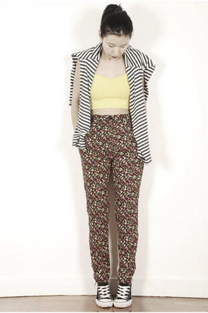 yellow American Apparel top - ruby red American Apparel pants