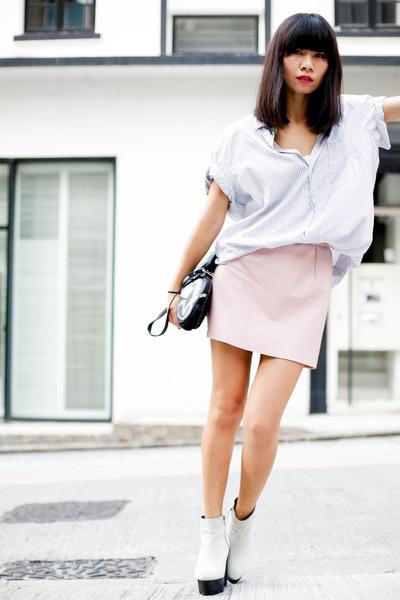 light pink American Apparel skirt - silver Cheap Monday wedges