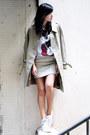 Beige-burberry-jacket-white-uniqlo-t-shirt-eggshell-ezzentric-topz-skirt