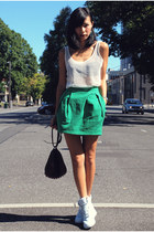 dark green Zara skirt - crimson Alexander Wang bag - white nike sneakers