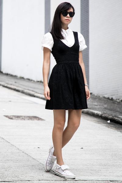 white American Apparel shirt - Zara dress - white Converse sneakers