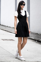 white American Apparel shirt - Zara dress - white Converse sneakers