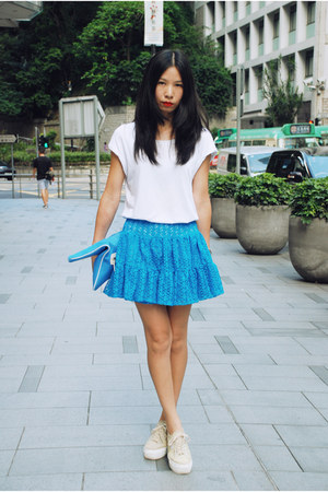 blue American Apparel skirt - sky blue kate spade bag - tan Superga sneakers