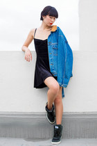black American Apparel dress - blue vintage Ezzentric Topz jacket