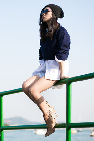 camel Zara boots - white American Eagle shirt - navy Zara sweatshirt