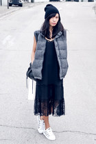 dark gray American Eagle vest - black Monki dress - black balenciaga bag