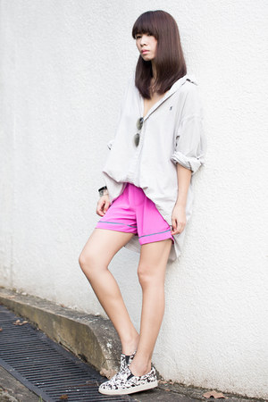 off white Ralph Lauren shirt - hot pink H&M shorts - white Steve Madden sneakers