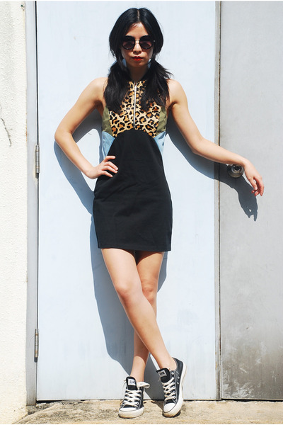 black Ksubi dress - black asos sunglasses - black Converse sneakers