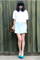 Topshop pumps - cotton on shirt - Monki bag - supre skirt