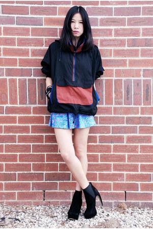 black tony bianco boots - black vintage jacket - sky blue American Apparel skirt