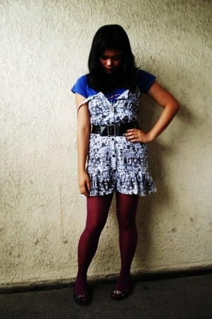 Snoopy shirt - vintage dress - Target tights - belt - imitation on Anna Sui acce