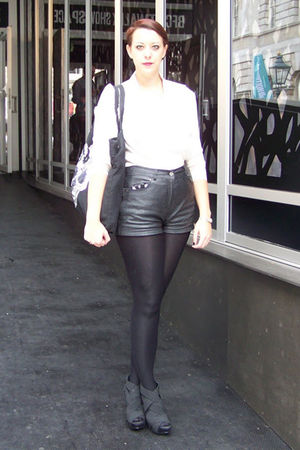 Markus Lupfer bag - black Office shoes - vintage shirt - black Topshop tights