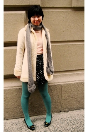 blue turquoise tights - black Salvatore Ferragamo shoes - beige vintage coat