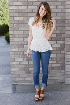 rire boutique necklace - lace peplum xhilaration top
