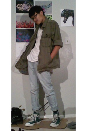 olive Gap jacket - light blue Arizona jeans - baseball tee Pac Sun shirt