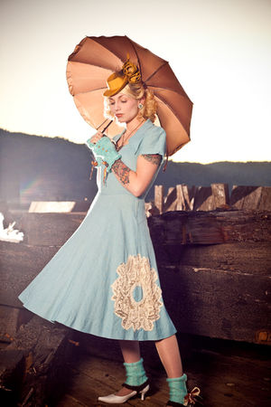 gold vintage hat - blue handmade lace vintage dress