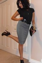 gray Costa Blanca skirt - black Aldo boots - vintage blouse - black Aldo - black