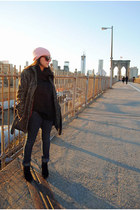 black booties boots - Forever 21 coat - bubble gum pink beanie DIY hat