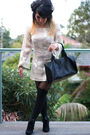 Beige-custom-made-dress-black-custom-made-purse-black-custom-made-boots-bl