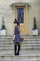 blue maxim dress - black Twin Cat Vintage accessories - black custom made boots