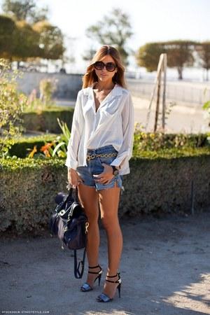 sparkly sandals Zara heels - silk button-up H&M shirt