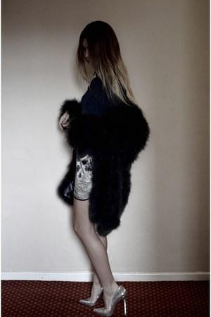 silver Christian Louboutin heels - faux fur Topshop coat