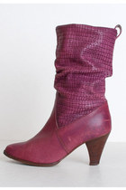 purple slouchy leather vintage boots