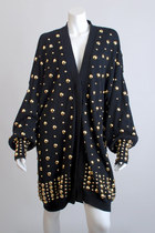 black Vintage 80s Black Gold Studded Sweater T dress