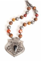 silver medallion beads vintage necklace