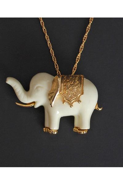 Gold vintage necklaces vintage 70s ivory gold elephant brooch gold vintage necklace aloadofball Gallery