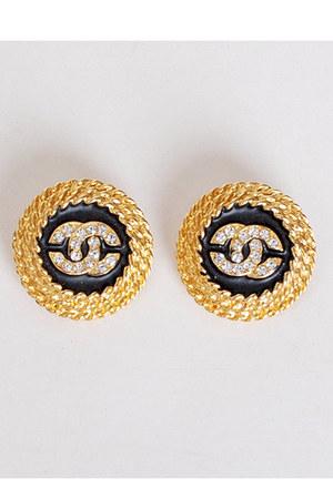 gold vintage chanel earrings