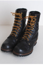 Black Combat Leather Vintage Boots