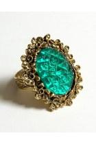 teal vintage ring