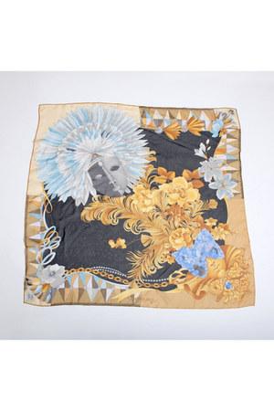 gold square silk Vintage Leonard Paris scarf