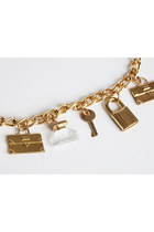 Vintage 90s Gold CHAIN Belt Necklace / Lucite Perfume Bottle Charms, xs s