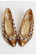 Vintage 80s 90s Gold Snakeskin Check Pumps 8.5 38.5
