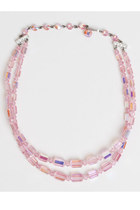 Vintage 50s 60s Pink Crystal Glass Bead Necklace