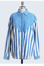 Vintage 90s Grunge Denim Blue & White Striped Shirt