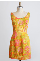 Vintage 60s Silk Asian Print Sheath Dress 