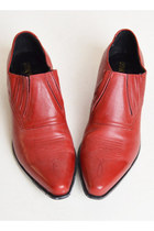 Vintage 90s Red Chelsea Ankle Boots / 1990s Leather, 10 41