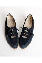 Size 5 1/2 Vintage 70s Navy Blue Suede & Leather Oxfords 35.5
