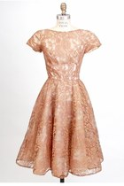 Vintage 50s Couture Mocha Brown Pink Lace Party Dress