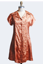 Vintage 70s METALLIC COPPER Mini Dress / 1970s Brocade Shirt Dress, s m
