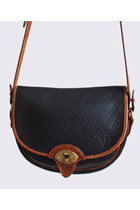 Vintage 90s DOONEY & BOURKE PURSE / Black Leather Saddle Bag