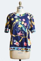Vintage 80s LEONARD PARIS Floral TOP / Bright Floral Print Blouse, s m