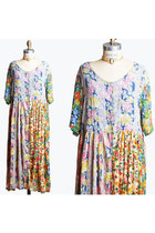 Vintage 80s INDIAN COTTON DRESS / Gauzy Semi-Sheer Floral Midi, s m