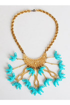 Vintage 60s MOD Avant Garde Blue Elephant Charm Gold Bib Necklace 