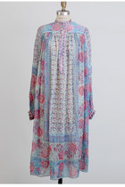 Vintage 60s 70s Blue & Pink Floral India Silk Crepe Dress