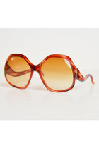Vintage 60s 70s Oversized Tortoise Sunglasses / Gradient Orange & Brown